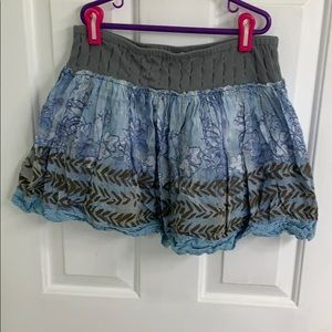 Blue and gray flowery mini skirt from Free People
